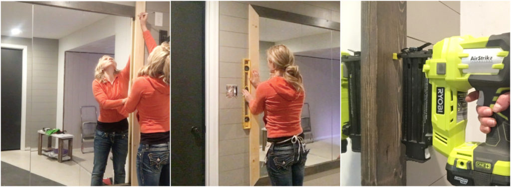This DIY mirror frame tutorial will save you hundreds over buying a framed mirror in the store. Adding a wood frame to a large wall mirror is an easy and inexpensive way to add character and style to a space. Framed mirrors go well in bathrooms, workout rooms, above a table, mantle, sofa, buffet, hallway, against a wall or in a corner, etc. #mirror #framedmirror #largemirror #bathroommirror