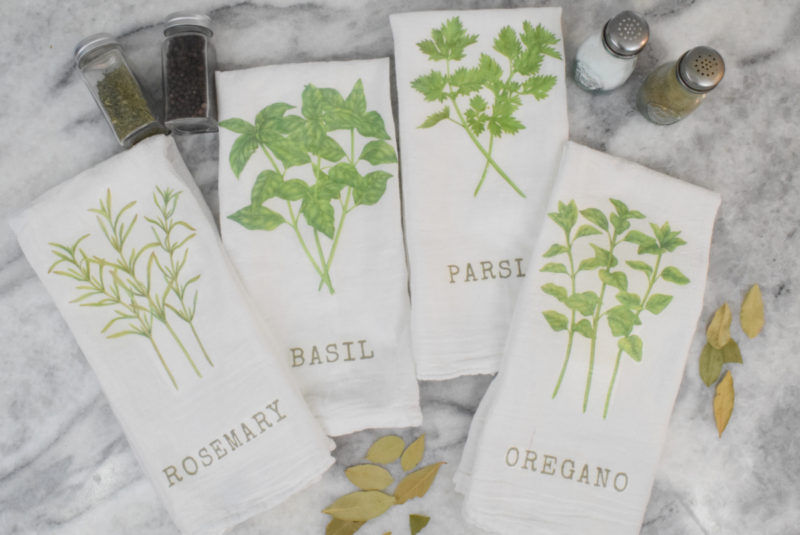 Easy Transfer to Fabric Technique – DIY Kitchen Herb Towels