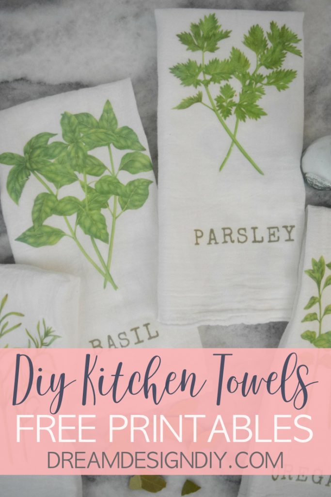 How to Easily Transfer an Image to Fabric - DIY Kitchen Herb Towels