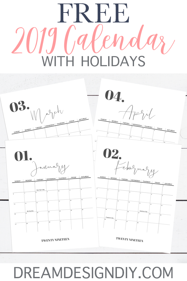 Get your FREE 2019 Calendar with Holidays Printable! This minimalist, modern and pretty design will get you through January to December helping you keep track of your monthly schedule. Keep it on the fridge, office wall, locker, or clipboard so you can easily see your schedule. #2019 #printable #calendar #calendar2019 #printablecalendar2019 #printablecalendar #organization