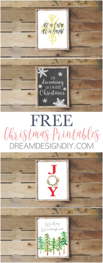 Get four FREE Christmas Printables. Printables are a quick, cheap and easy way to decorate for the holidays. These printables are great for several decorating styles including farmhouse, rustic and vintage. They will look good in color or black and white. They are the perfect size to pop them in an 8 x 10 frame. Happy Holidays! #christmasprintables #christmasdecorating #printables #christmas