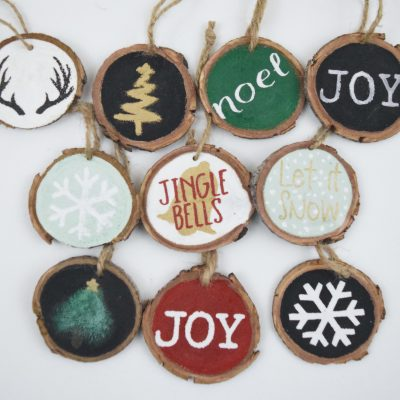 DIY Wood Slice Ornaments with FREE Images