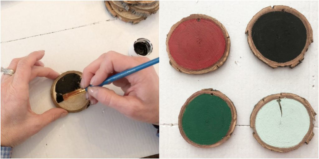 These DIY wood slice ornaments give a rustic touch to a Christmas tree or add a personalized touch to a gift. There are several ways to design these such as stenciling with paint, paint markers, vinyl or free hand. #ornaments #christmas #woodornaments #diyornaments #gifttags