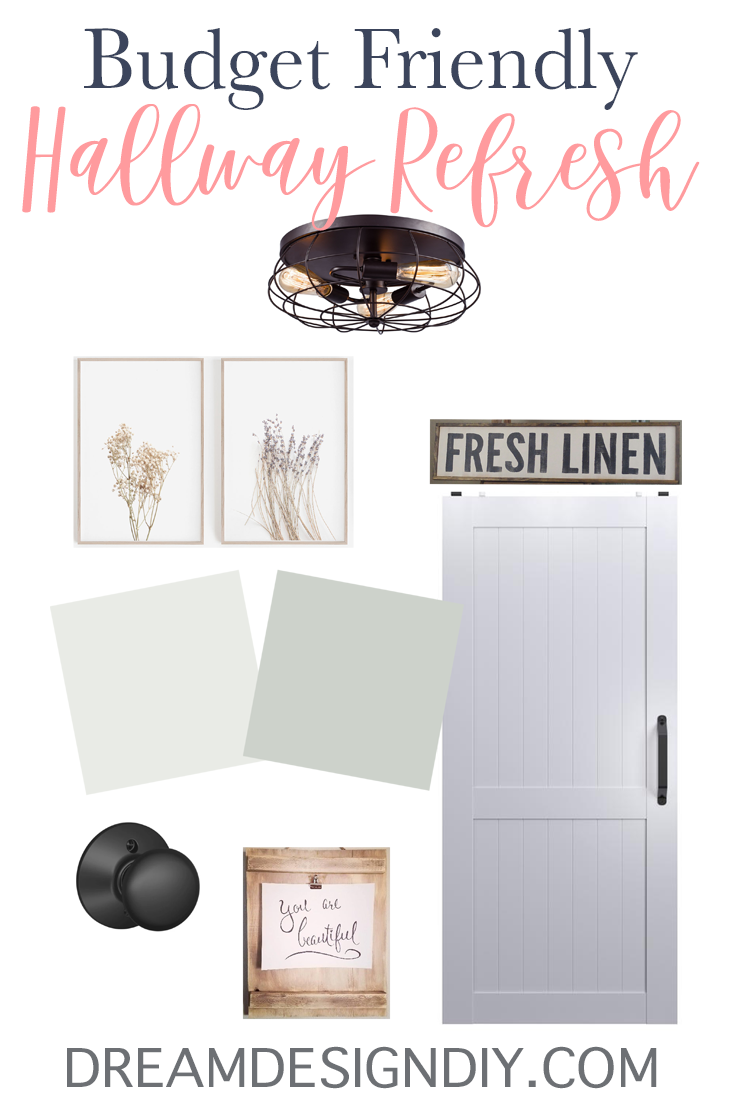 Looking to do a hallway refresh? For this hallway refresh I plan to add wall decor, a new paint color, new lighting, a farmhouse touch to the linen closet door and a unique fun piece on the wall at the end of the hallway. Check out the ideas and plans come to life over the next several weeks. #hallway #hallwayrefresh #hallwaydecorating #hallwaylighting