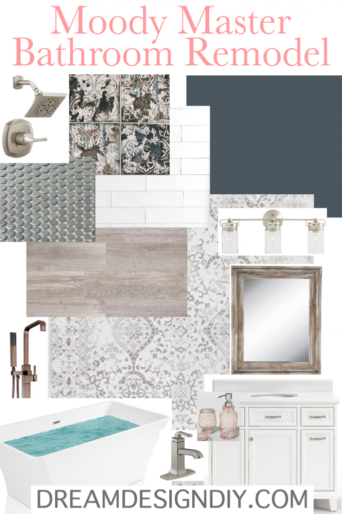 Here is a moody master bathroom remodel plan and vision board. The design plan will involve new elements, decor and an indigo paint color to bring a cozy feeling to the room. #moodybathroom #bathroom #indigopaintcolor