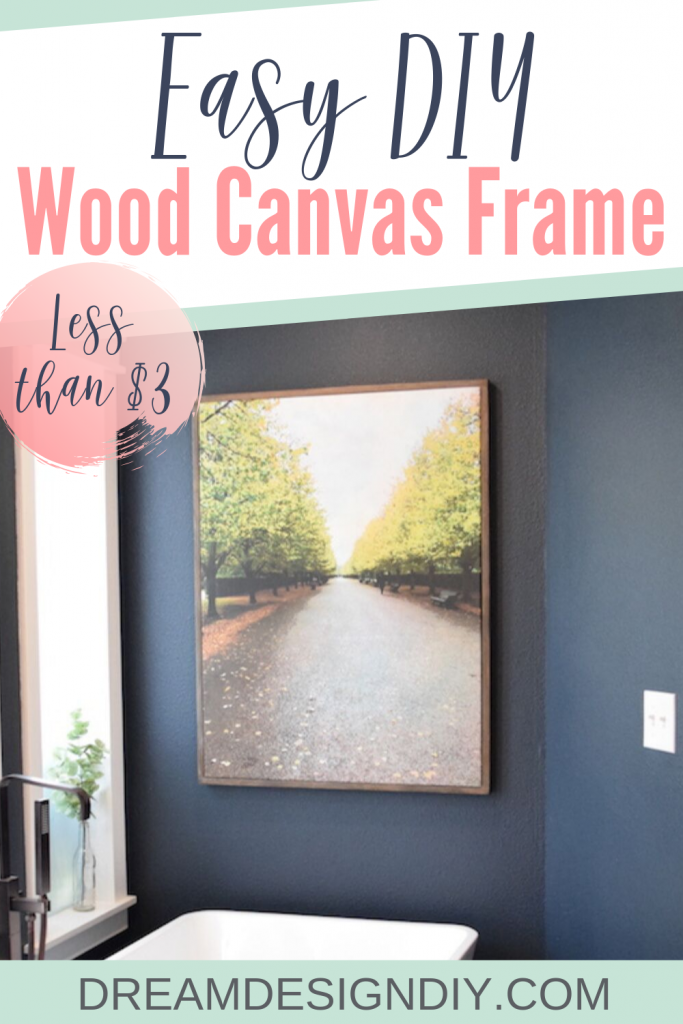 Add style to your wall art with an easy DIY wood frame. Make canvas art affordable by saving money on framing. This tutorial will show you how to make an easy wood canvas frame from two 1 x 2s. Cost is less than $3 to make the frame. #canvas #canvasframe #diyframe