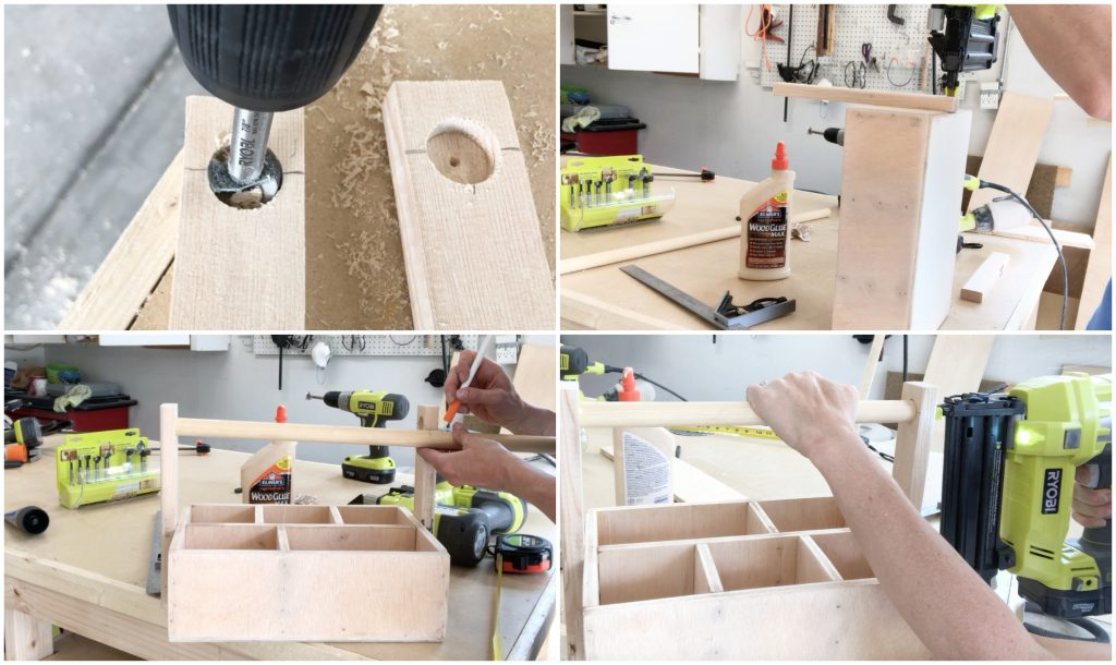 DIY this wood utensil caddy that will hold silverware, napkins, and salt and pepper. Use mason jars, tin cans, or small buckets to hold your items. Finish off the stained wood with a dry brushed rustic look. This will go perfect on your patio for your outdoor parties. #utensilcaddy #woodprojects #patioparties #silverwareholder #diy