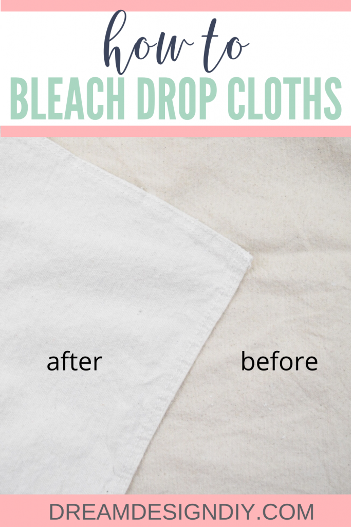 Canvas drop cloths are perfect for making many projects like curtains, slipcovers, pillowcases, wreaths, bags, signs etc. Make them lighter and brighter using this easy bleaching technique. #dropcloth #farmhouse