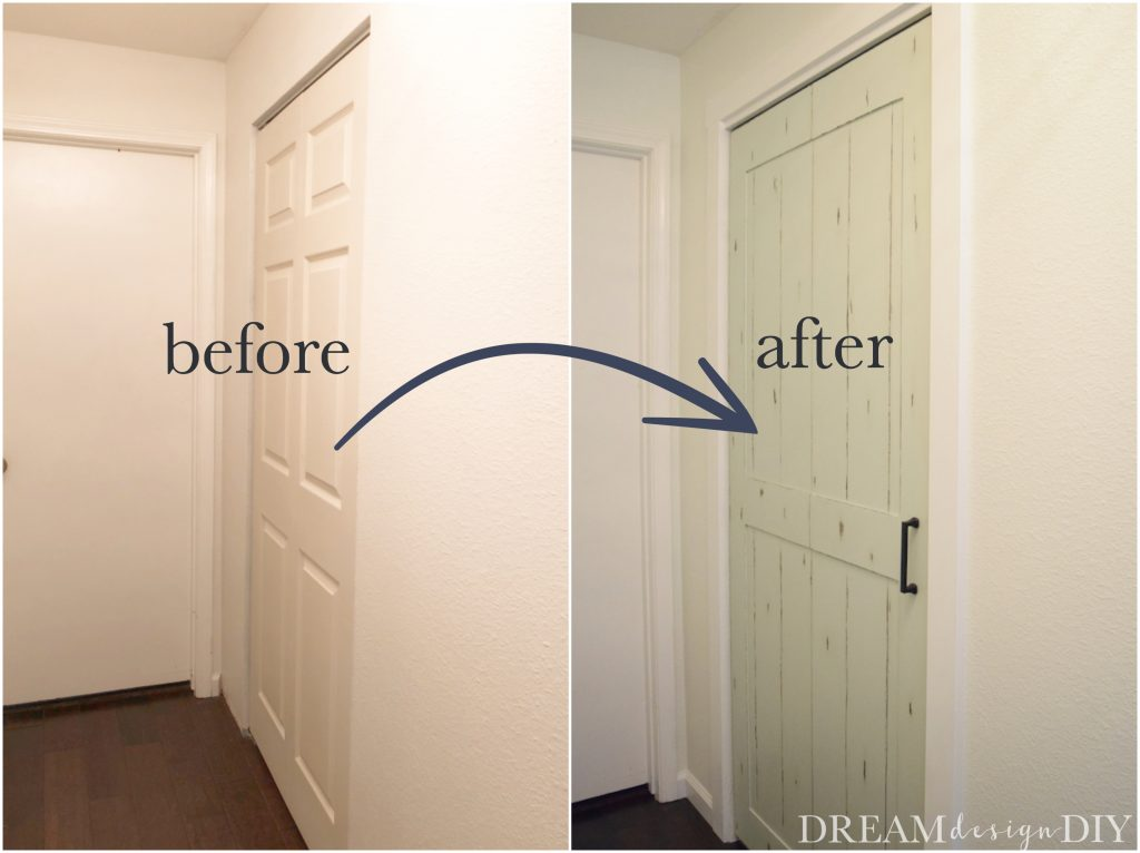 Don't settle for boring bifold doors. Here are several ways to makeover a bifold door that will fit many design styles such as farmhouse, modern or chic. Use paint, decorative trim, thin plywood and hardware to transform your closet door. Instead of buying, repurpose and DIY for a budget friendly option. #DIY #closetdoors #bifolddoor #repurpose #upcycle