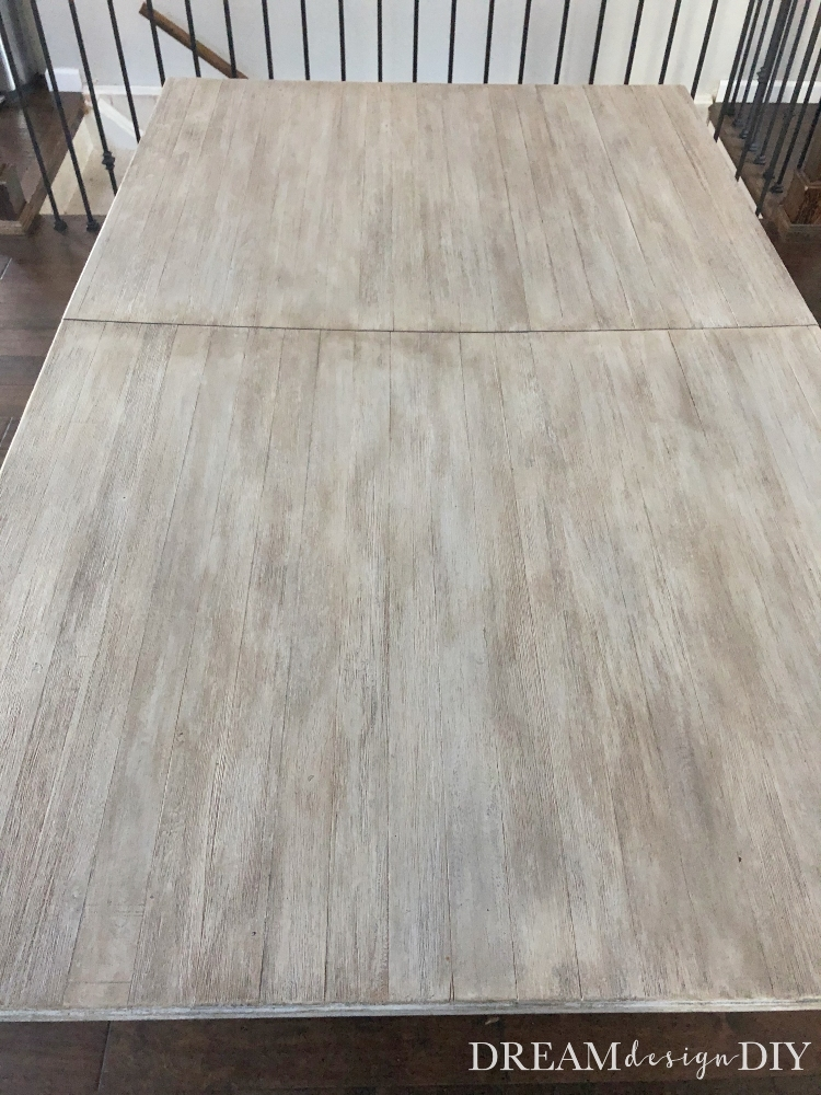Do you love the Restoration Hardware look? See how easy it is to get the aged Restoration Hardware finish using a whitewash technique with latex paint and then applying glaze. Upcycle a piece of used furniture to get the look of aged wood instantly. #restorationhardware #diy #whitewash #glaze #farmhouse #upcycle