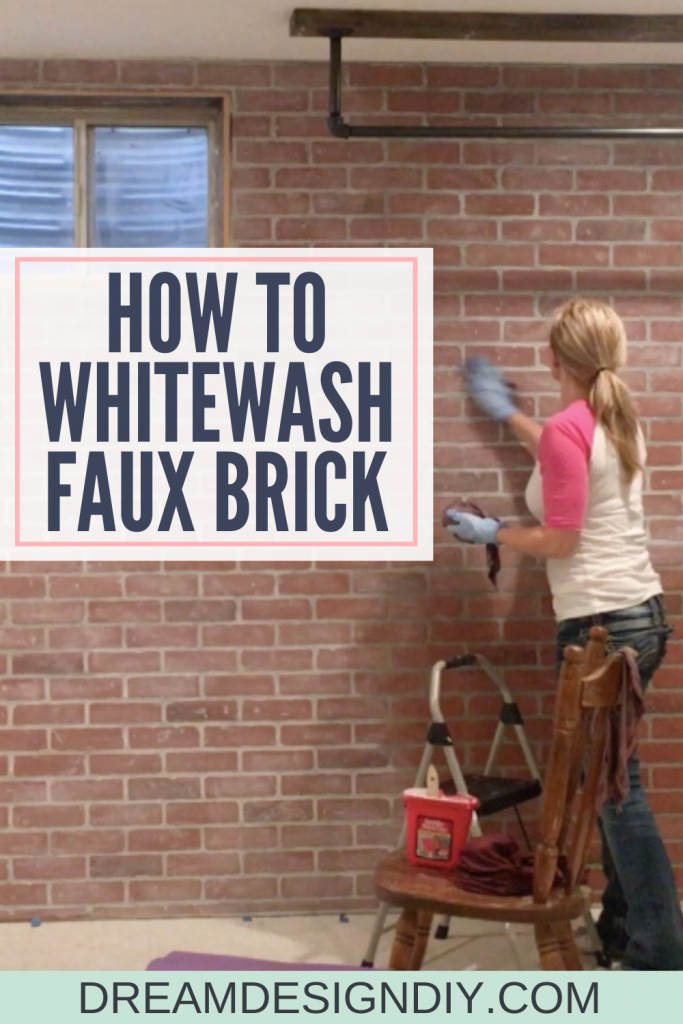 Add rustic, aged or farmhouse charm to faux or real brick, wood and furniture with this easy whitewash technique. This is a simple DIY using a mix of two items from your home. #whitewash #diy #brick #fauxbrick