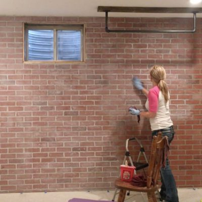 How to Whitewash Faux Brick