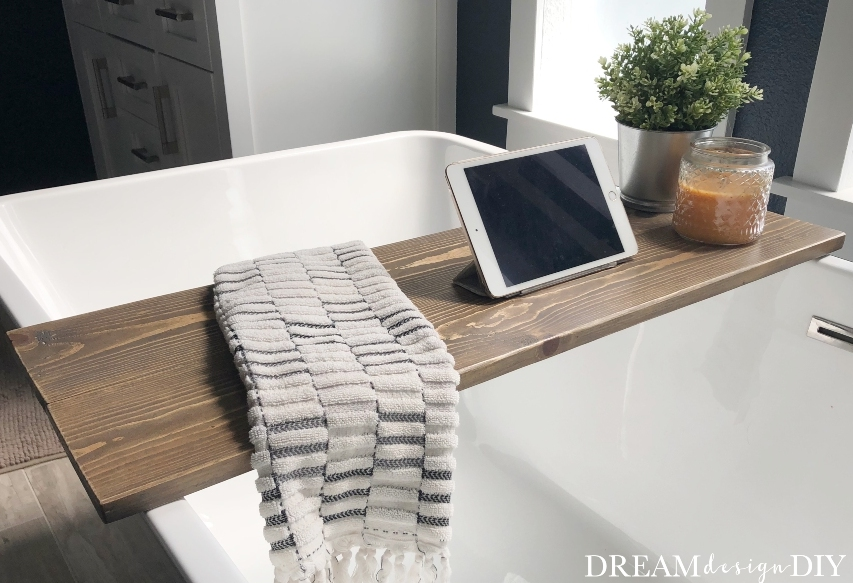 Get back to relaxation and enjoy your bath time with this simple DIY wood bathtub tray. Use it to hold your favorite bath time essentials. Take a break from adulting and enjoy some me time. #diy #bathtubtray #woodprojects #beginnerprojects