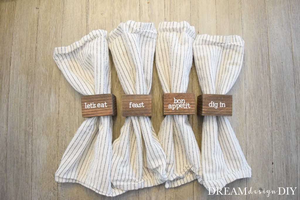 Make these Easy DIY Wood Napkin Rings out of a 2 x 4 scrap and add some style, character and fun to your dining table. #diy #entertaining #placesetting #woodnapkinring
