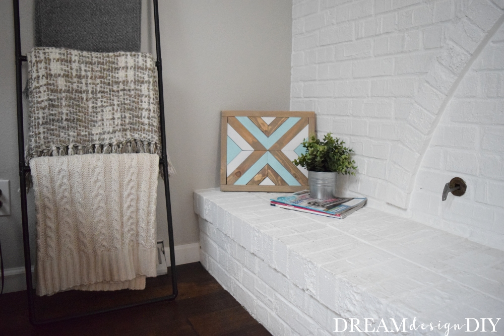 Clear your scrap pile and make this Simple DIY Wood Wall Art. Stain or paint the wood pieces to add color, style and character to your spaces. It works for rustic and farmhouse styles. #diy #woodworking #woodwallart #scrapwood