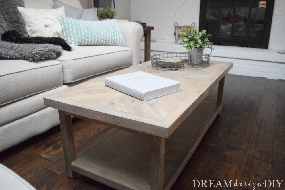 Build this coffee table with a unique chevron pattern to add style to your living or family room. It works well for farmhouse, coastal and rustic styles. #diy #coffeetable #woodworking #farmhouse